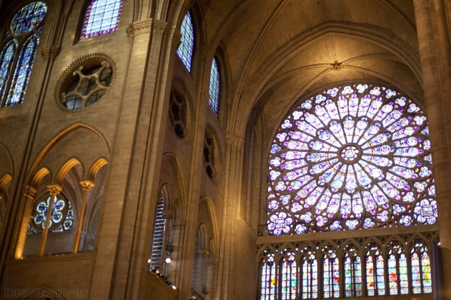 Inside view of the north rose window of Notre-Dame - Paris, France