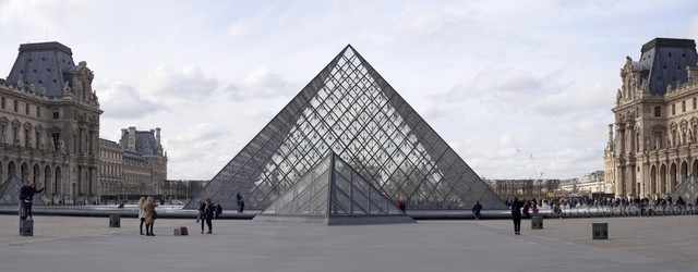 The Louvre Pyramid in Paris, France