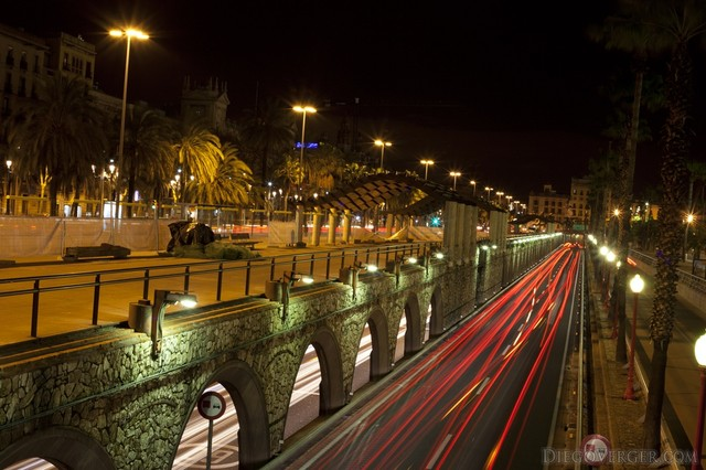 Ronda Litoral at night - Barcelona, Spain