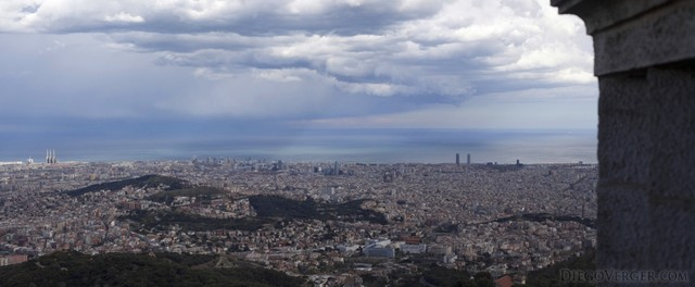 Panoramic view of Barcelona in a cloudy day