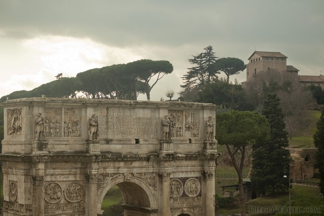 Top of the Arch of Constantine in Rome, Italy