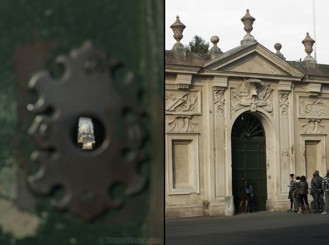 Keyhole of the building of priory of the Knights of Malta in Rome, Italy