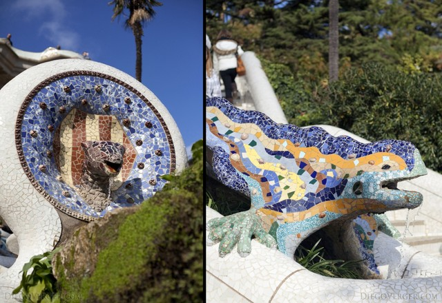 Snake and Dragon in the main stairs of Park Güell - Barcelona, Spain
