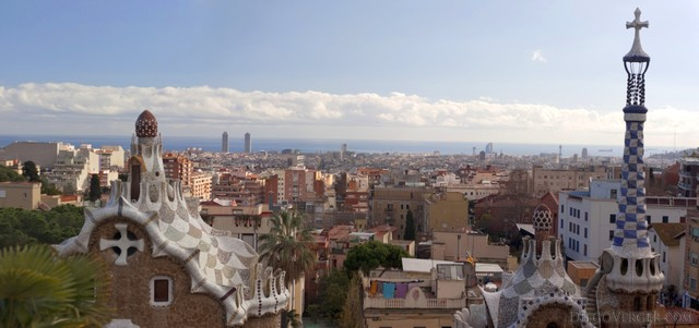 View of Barcelona from the Greek Theater in Park Güell