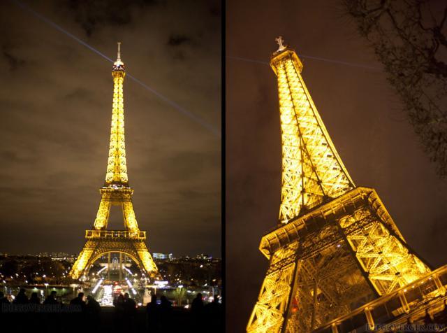 La iluminación dorada de la torre Eiffel - París, Francia