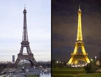 La torre Eiffel, día y noche - París, Francia