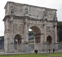 North façade of the Arch of Constantine in Rome, Italy