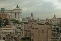 Panoramic view over the Roman forum and surrounding structures