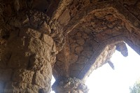 Detail of a viaduct's ceiling with arches in Park Güell - Barcelona, Spain
