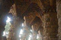 Ceiling of viaduct in Park Güell  - Barcelona, Spain