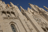 Detail of the front façade of the Temple of the Sacred Heart of Jesus - Barcelona, Spain