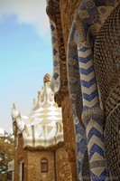 Detail of the mosaic work in a pavilion of Park Güell - Barcelona, Spain