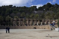 The Greek Theatre square or Nature Square at Park Güell - Barcelona, Spain