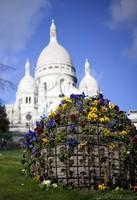 Esfera de flores y el Sagrado Corazón - París, Francia