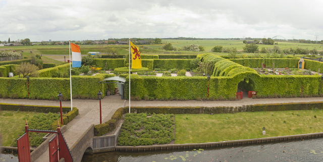 Muiderslot gardens as seen from the castle - Muiden, Netherlands