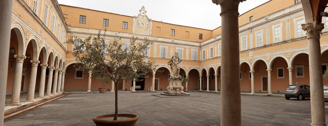Panoramic view of the courtyard of Palazzo dell'Arcivescovado - Pisa, Italy