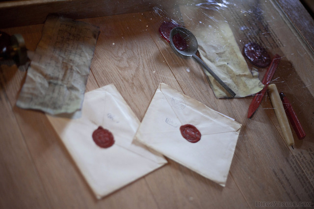 Sealed envelopes next to documents and wax sealing tools - Muiden, Netherlands