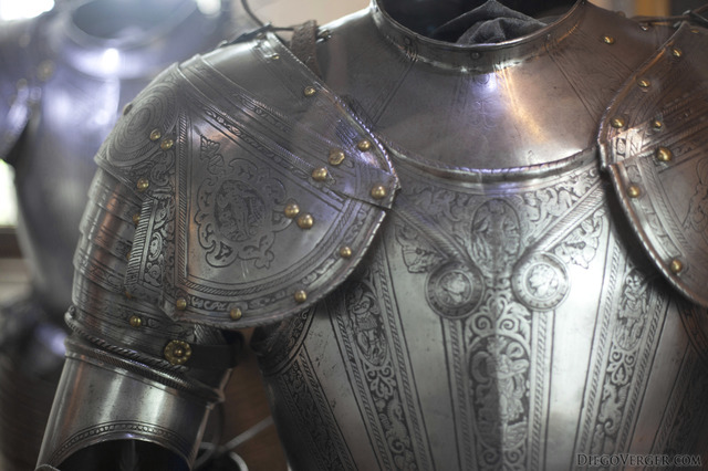 Detail of a knight's armour at Muiderslot - Muiden, Netherlands