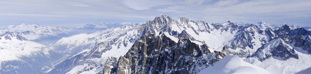 Panoramic photo of Mont Blanc massif