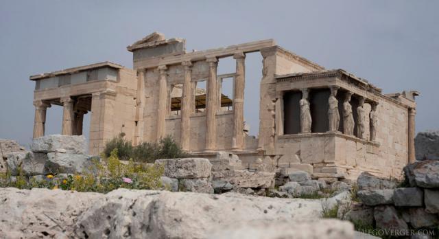Erechtheion's south façade in the Acropolis of Athens - Athens, Greece