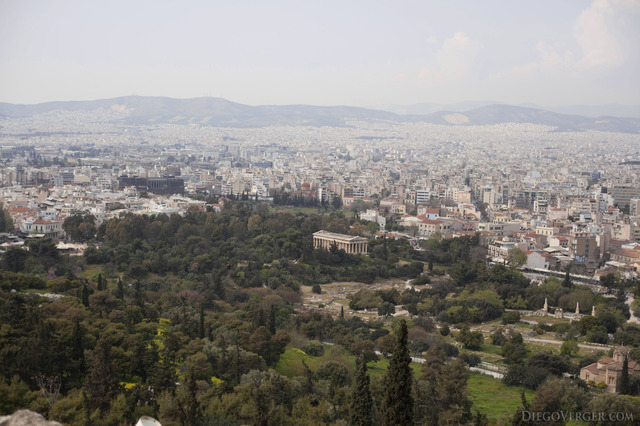 Panoramic view of the Ancient Agora in the city of Athens - Athens, Greece