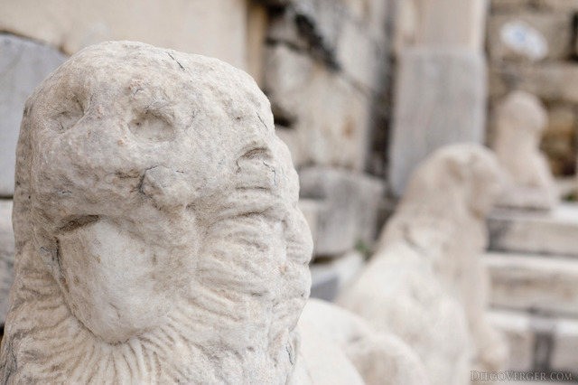 Lions at the Beulé Gate of the Acropolis - Athens, Greece