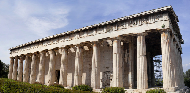Side view of the Temple of Hephaestus in the Ancient Agora - Athens, Greece