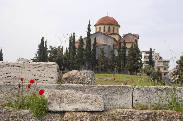 Church of Agia Triada as seen from the archaeological site of Kerameikos - Athens, Greece