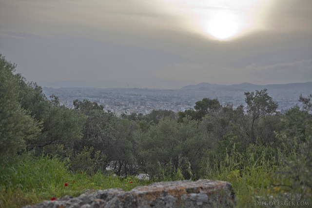 View from Philopappos Hill at dusk - Athens, Greece