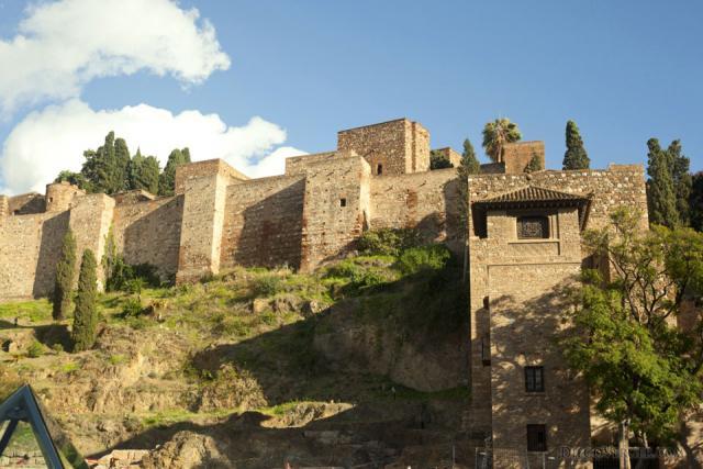 Wall and tower of the Alcazaba of Malaga - Malaga, Spain