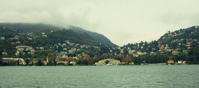 Panoramic view of the west shore of Como from the lake - Como, Italy