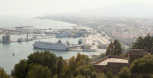 Malaga and its port from Gibralfaro - Malaga, Spain