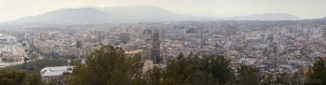 Panoramic photo of Malaga from the Castle of Gibralfaro.