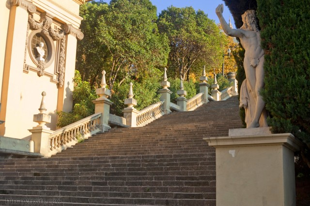 Stairway at Plaza de las Cascadas in front of the museum - Barcelona, Spain