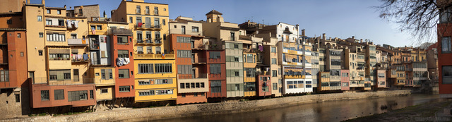 Panoramic view of the buildings along the Onyar river in Girona - Girona, Spain