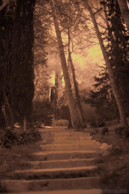 Escalera por fuera de la muralla de los Jardins dels Alemanys de Girona - Girona, España