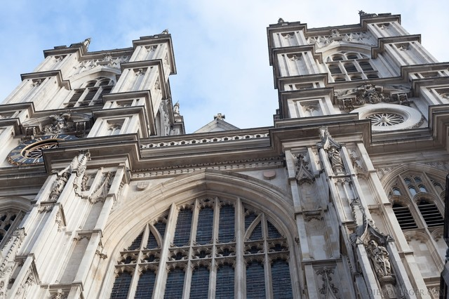 Detail of the west towers of Westminster Abbey - London, England