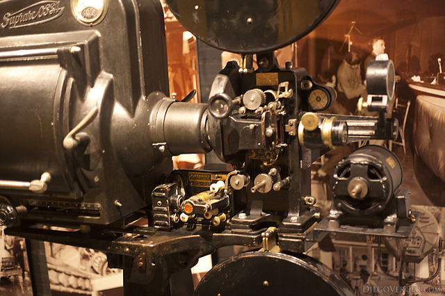Detail of an old film projector - Girona, Spain