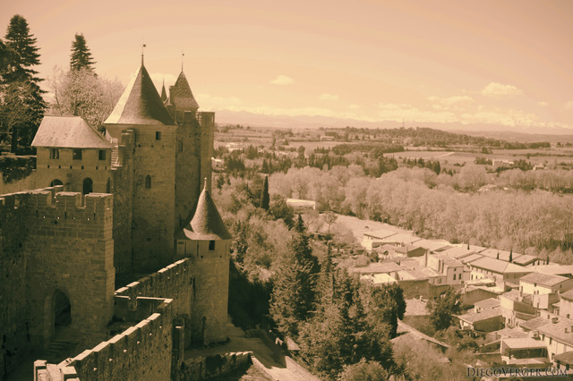 West section of the walls and view of the region - Carcassonne, France