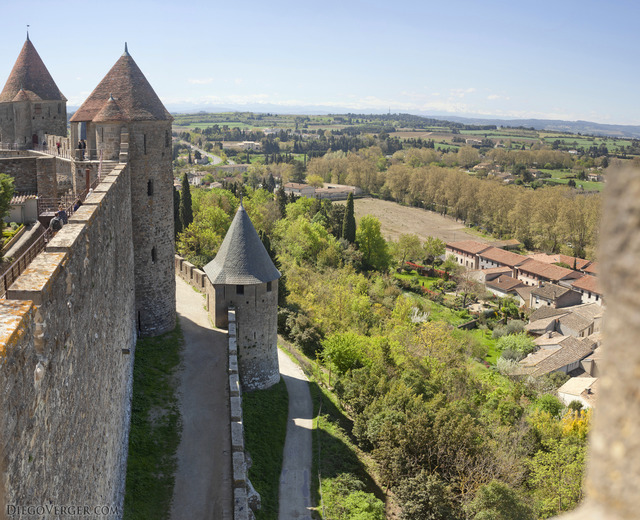 The walls of the Cité of Carcassonne - Carcassonne, France