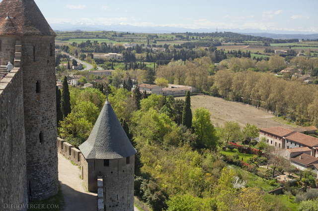 Panorama from the walls of the medieval city - Carcassonne, France