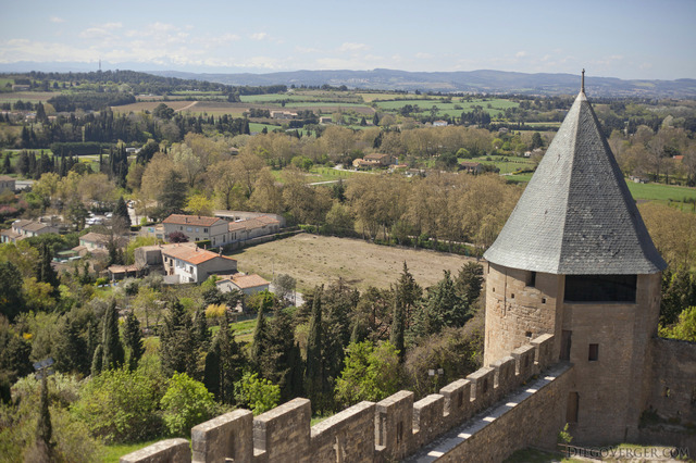 View from the ramparts walk on the inner wall of the citadel - Carcassonne, France