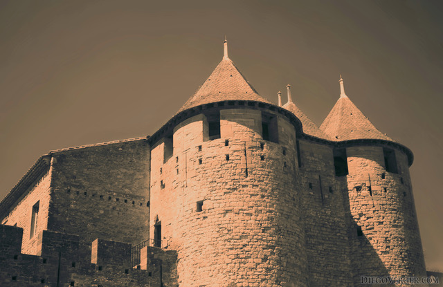 Detail of the façade of the Count's Castle - Carcassonne, France