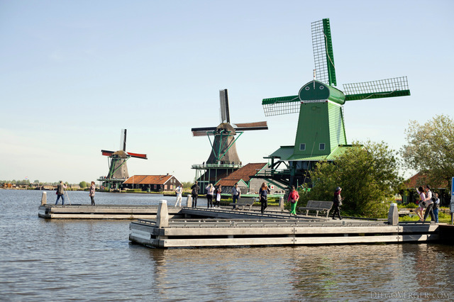 Three of the windmills of Zaanse Schans - Zaandam, Netherlands