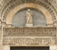 Tympanum on the main entrance of the Pisa Baptistery - Pisa, Italy