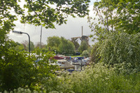 The WSV quay and the Vriendschap windmill - Weesp, Netherlands