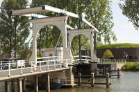 The Vechtbrug drawbridge and the tower-fortress on the Ossenmarkt - Weesp, Netherlands