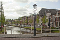 Oudegracht Street and Canal as seen from Breedstraat street - Weesp, Netherlands