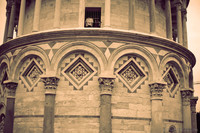 Detail of the blind arcade of the Tower of Pisa - Pisa, Italy