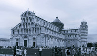 The Pisa Cathedral and the Tower of Pisa in infrared - Pisa, Italy